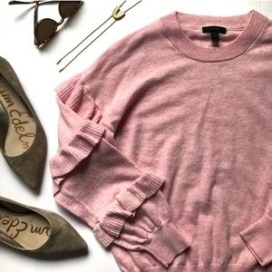 J. Crew Pink Sweater with Ruffle Sleeves